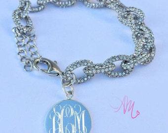 Monogram Bracelet, Monogram CZ Bracelet, Monogram Pendant Bracelet