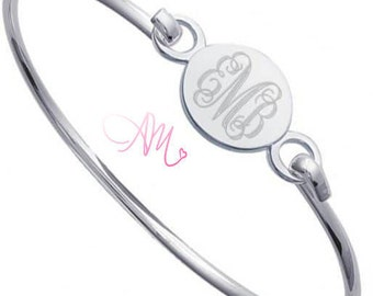 Monogram Bangle, Sterling Silver Monogram Bangle, Silver Bangle