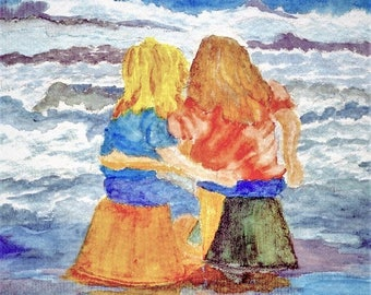 Watercolor - Two Girls Daydreaming at the Ocean Beach Note Card 5 x 7 - All Occasion - Individually Customized Matting - Quantity Discounts