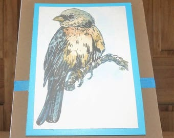 Hand Designed Bluebird Note Card 5 x 7 - All Occasion - Individually Customized Matting - Quantity Discounts