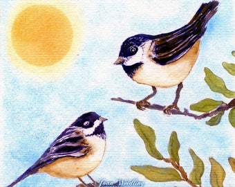 Watercolor - Chickadees - Note Card 5 x 7 - All Occasion - Individually Customized Matting - Quantity Discounts