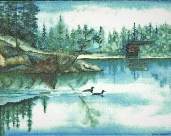 Loons on Clearwater Lake - Watercolor Print - Note Card 5 x 7 - Wildlife All Occasion - Individually customized mat - quantity discounts