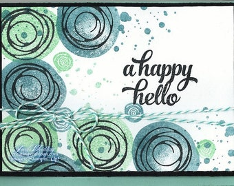 Stampin' Up! Happy Hello Greeting, Invitation, and Announcement Card 4 x 6 with coordinated matting and embellishments
