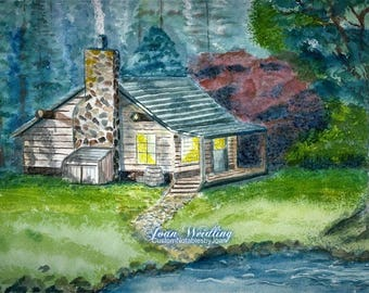 Northwoods Rustic Cabin by the Lake - Watercolor - Note Card 5 x 7 All Occasion - Individually Customized Matting- Quantity Discount