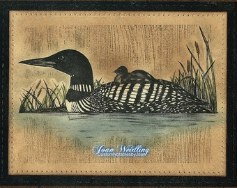 Northwoods Hand Designed Wildlife Mother Loon with Baby -Note Card -5 x 7 - All Occasion - Individually customized mat  - quantity discounts