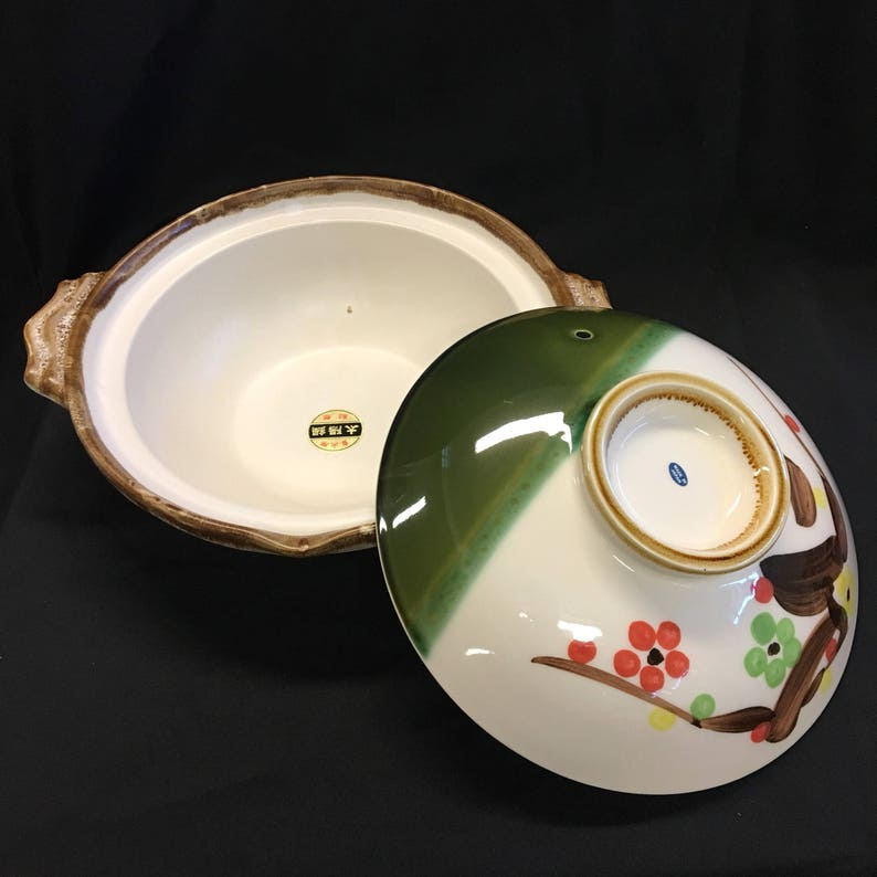 Earthenware Made in Japan Hot Pot Vintage Japanese Donabe Hand Painted Cherry Blossoms
