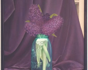 """An original painting on canvas, """"Purple in the Afternoon"""" by Sherri Hepler"""
