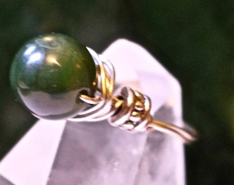 Wire Wrapped Rings, Size 10, BC Nephrite Jade, Turquoise, Hematite