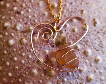 Genuine Sea Glass Jewelry, Sea Glass Necklace, Sea Glass Pendant, Heart Pendant, Wire Wrapped Jewelry, Rose Gold Jewelry