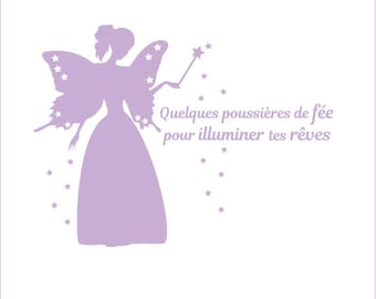 Fairy sticker: dust with fairy and stars to illuminate your dreams for your children's room decor