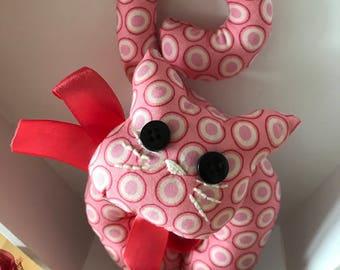 CAT door fabric pink psychedelic