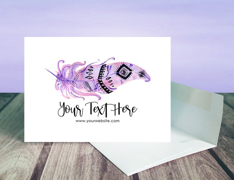 D00042-11 Tribal Feather Design A1 Cards and Envelopes 12 pcs Custom Note Cards with Envelopes