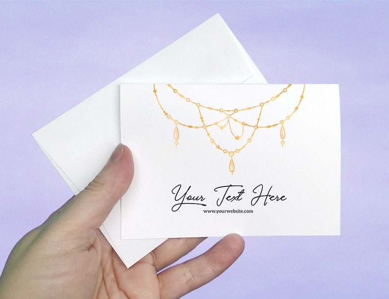 D00001-11 Gold Bead Design 12 pcs A1 Cards and Envelopes Custom Note Cards with Envelopes