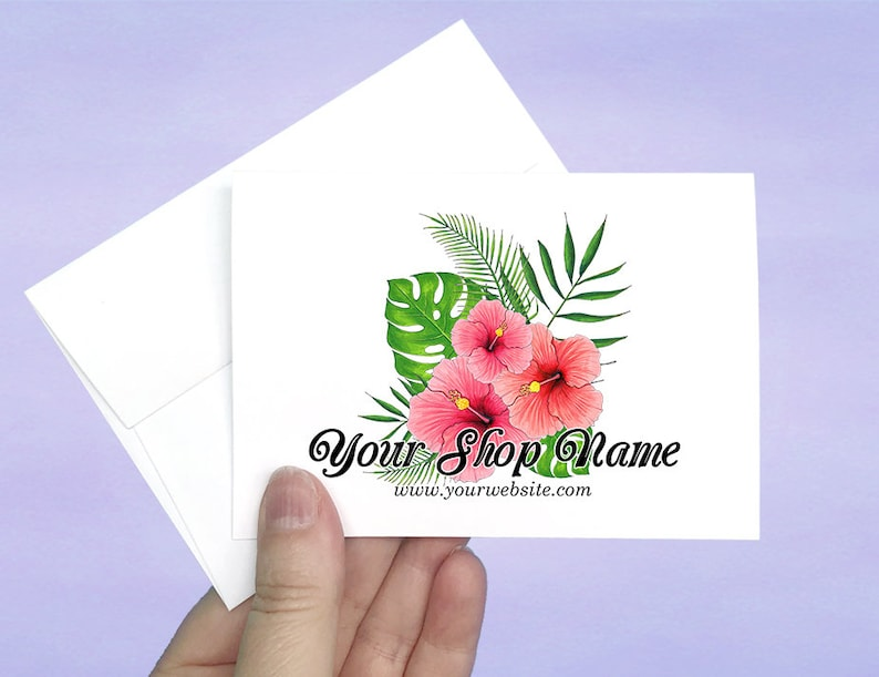 A1 Cards and Envelopes 12 pcs D00009-11 Custom Note Cards with Envelopes Tropical Hibiscus Design