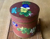 Vintage Chinese Cloisonne Enamel and Brass Floral Cylindrical Box Tea Caddy Trinket Box Desk Accessories