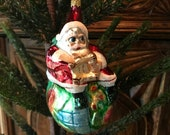 Christopher Radko Vintage Blown Glass Ornament Santa quot On Top of the World quot 1986-1995