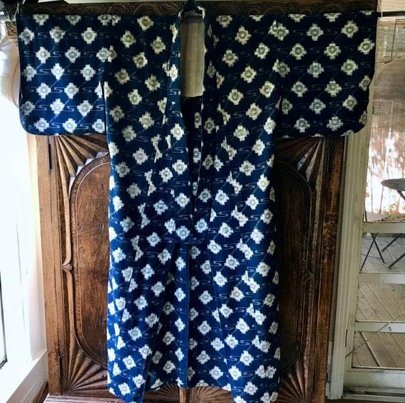 Antique Japanese Cotton Indigo Kasuri Yukata