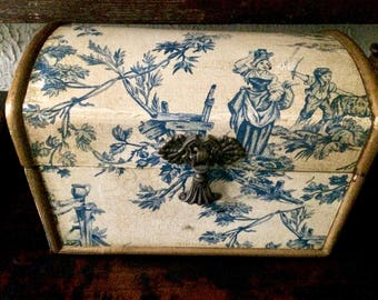 Blue & White Toile Decoupage Decorative Box // Wedding Gift // Anniversary Gift