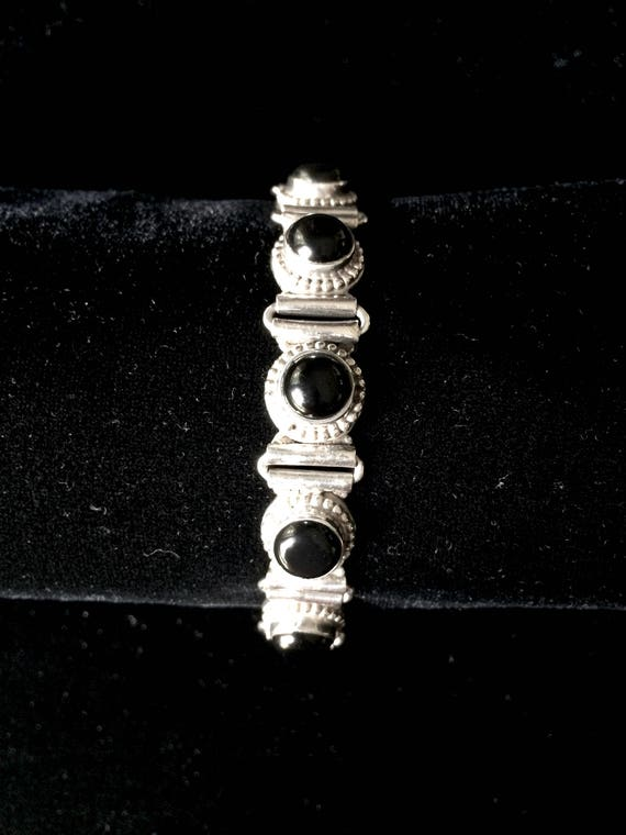 Mexico Black Onyx Cabochon and Sterling 925 Silver Link Vintage Bracelet  Anniversary Gift  Gift for Her