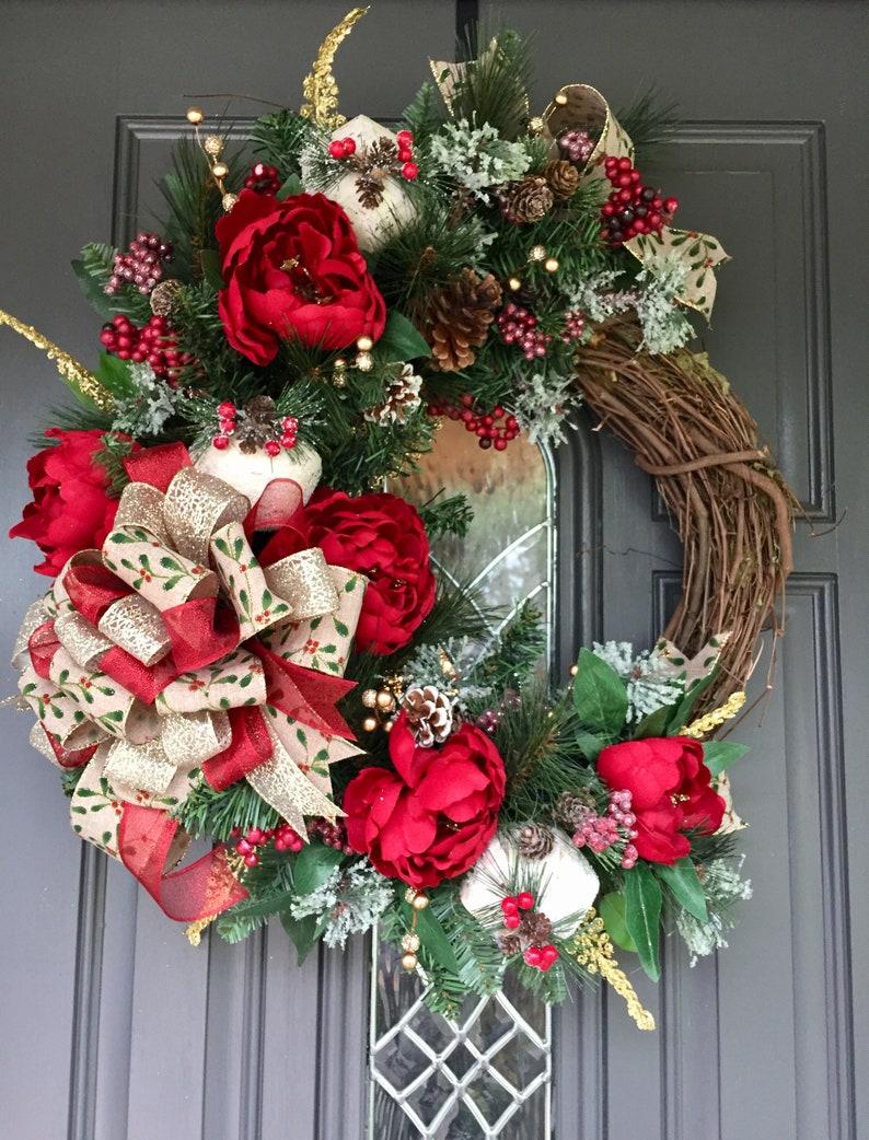 Christmas Grapevine Wreath Christmas Wreath Christmas Floral Wreath Christmas Wreath Traditional Christmas Wreath
