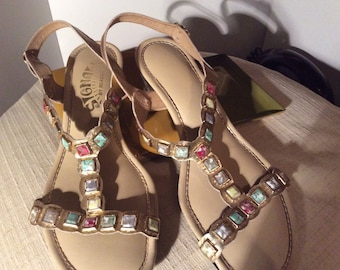 fd1c76c12d8f Woman s Sandals 1960 s Vintage Signals by Beacon Gold T-Strap Sandal with Multi  Color Square Stone Jewels 1 3 4