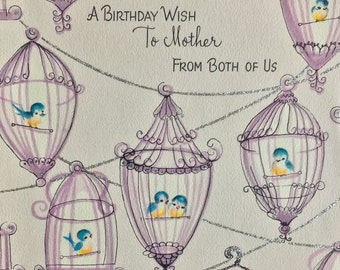Vintage Happy Birthday Card Mother Bird Cages Mom 1950s Gibson Birdies Birdcages