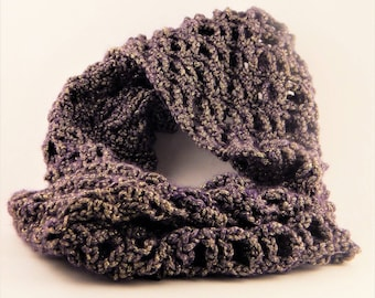 Purple and Gold Sparkly Cowl