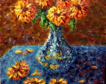 "Gerbera Daisies in Blue Vase, Original, Still-life, Oil Painting on Canvas 16"" x 20"""