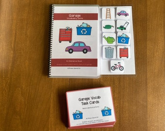 Garage Vocabulary Life Skills Adaptive Booklet w Task Cards (Special Ed and Autism Resource)