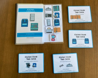 Kitchen Vocabulary Life Skills Adaptive Booklet w Task Cards (Special Ed and Autism Resource)