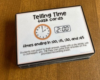 Telling Time Task Cards for autism and special education
