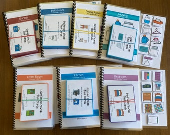 Around the House Vocabulary Life Skills Adaptive Booklet Bundle w Task Cards (Special Ed and Autism Resource)
