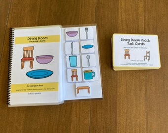 Dining Room Vocabulary Booklet and Task Cards (Special Education and Autism Resource)