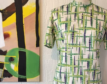 60 dress with green print