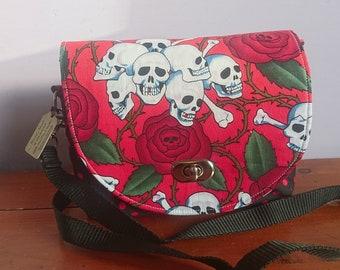Sweet pea saddle bag, purse, adjustable strap, skulls