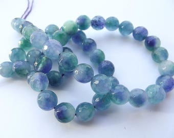48 round faceted 8 mm REIA 400 colored agate