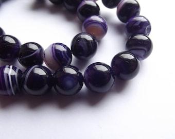 38 smooth round beads 10 mm purple agate KAYA 410