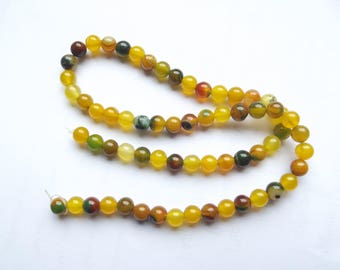 64 smooth round beads agate natural 6 mm MIM-443