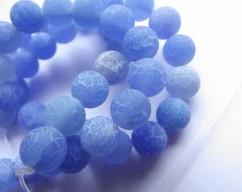 48 smooth cracked 8 KAYA 415 mm frosted agate round beads