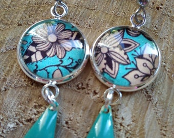 Earring cabochon turquoise and beige