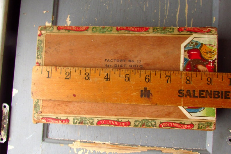 Vintage Cigar Box with labels Kings Herald Cigars Wood Box