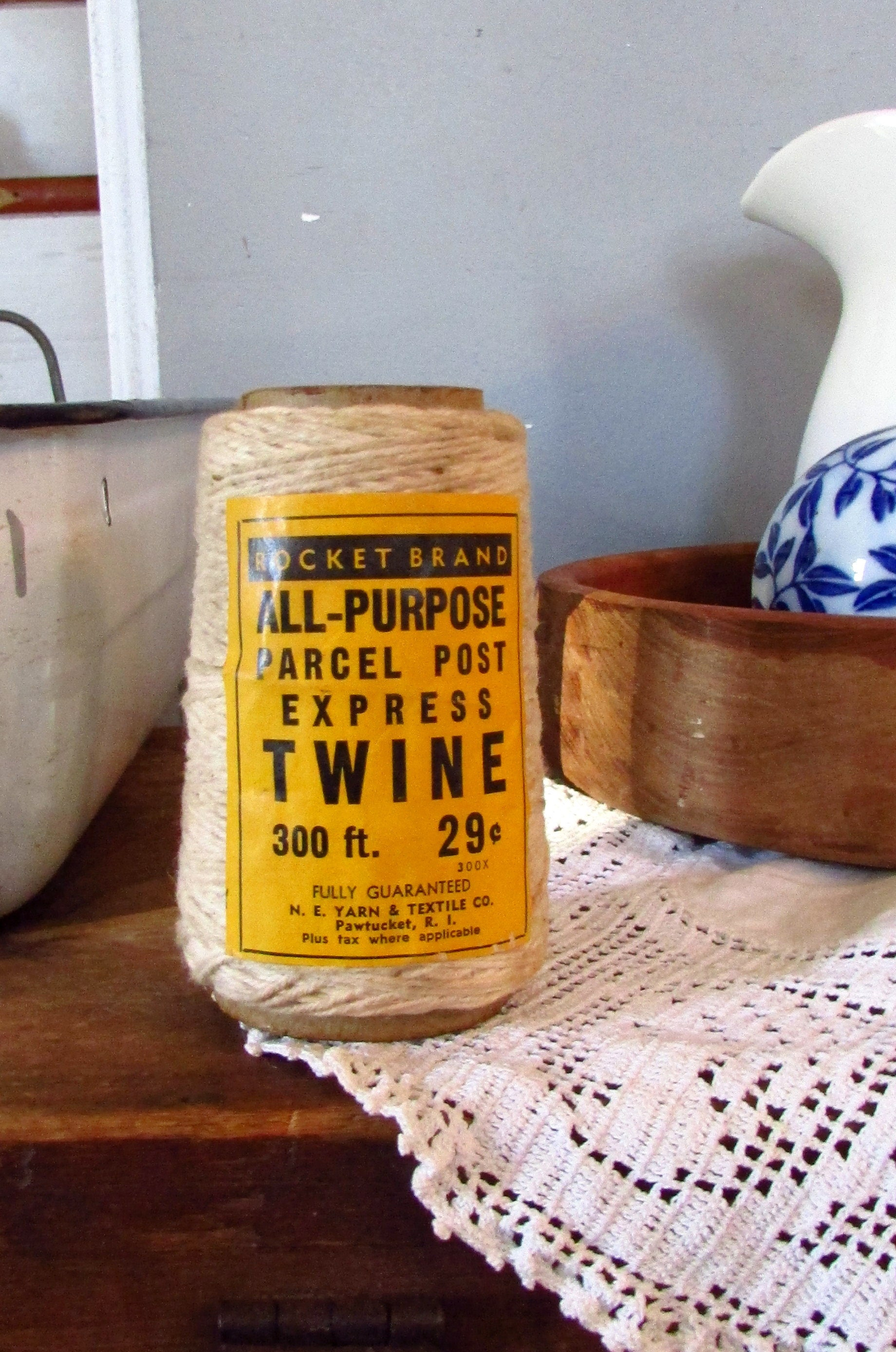 Vintage Twine for Parcel Post Express Twine Spool - Label Package with  Yellow Black text Rocket Brand All Purpose, Old Twine for packaging