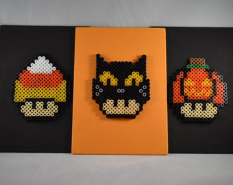 Super Mario - Halloween Mushroom Trio! (Candy Corn, Black Cat, and Pumpkin)