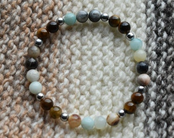 Amazonite, Tigers Eye, and Silver Hematite
