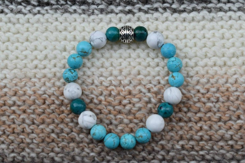 Turquoise and Chrysocolla White Howlite