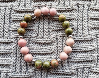 Rhyolite and Pink Rhodonite Beaded Bracelet