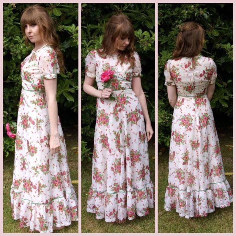 227e746b2c0 Vintage 70 s Pink   White Floral Maxi Dress Chiffon