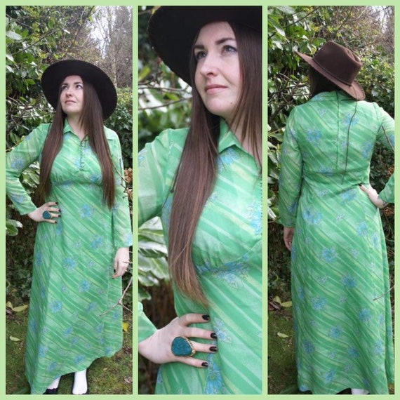 Vintage 70's Green & Blue Floral Striped Maxi Dres