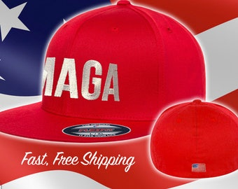 MAGA Hat - Fitted MAGA Flat Brim - American Flag on Back Flexfit Maga Trump  Hat - Make America Great Again - Flex Fit Red  MAGA Ships Free ddf990e13569