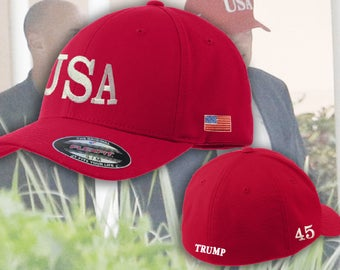 USA Hats   Embroidered FlexFit Trump USA Hat   Trump 45 President FlexFit  Hat   Trump 2020 Hat   Trump USA Replica Hats Maga Hats Ships Free 7ae22c07be32